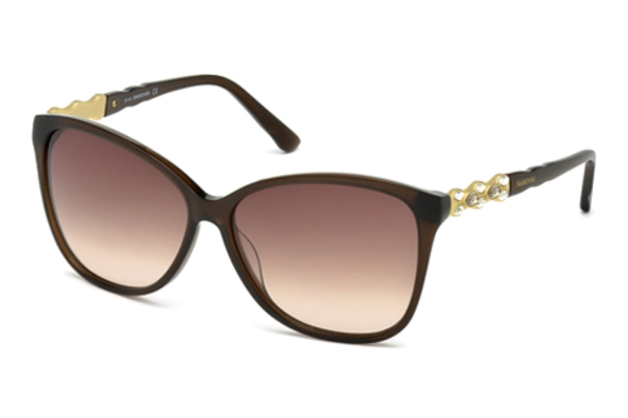 Swarovski SK0085 Elizabeth Sunglasses in 48F Shiny Dark Brown / Gradient Brown