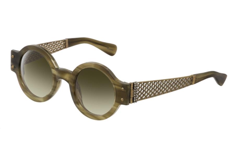 45ee36217 ... LANVIN SLN 512 Sunglasses in P90 Olive Green-Beige / Gradient Green  Lenses ...