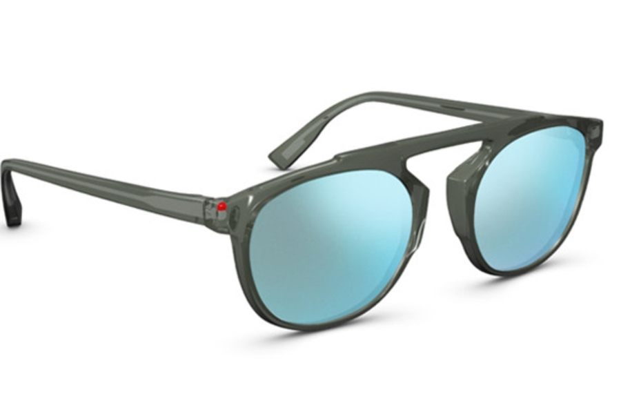 Simple Travis Sunglasses in 004F Trans Grey Sky Blue Mirror