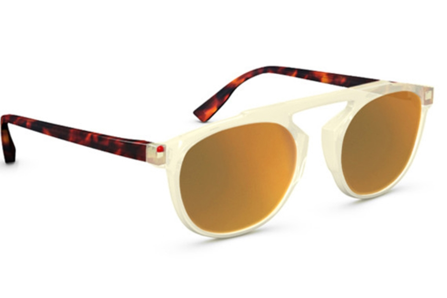 Simple Travis Sunglasses in 025J Yellow Crystal Gold Mirror