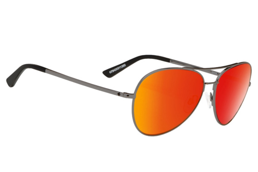 Spy WHISTLER Sunglasses in Gunmetal / Happy Grey Green w/ Red Spectra