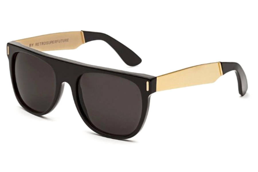 Super Flat Top IAB1 6YJ Francis Black Gold Sunglasses in Super Flat Top IAB1 6YJ Francis Black Gold Sunglasses