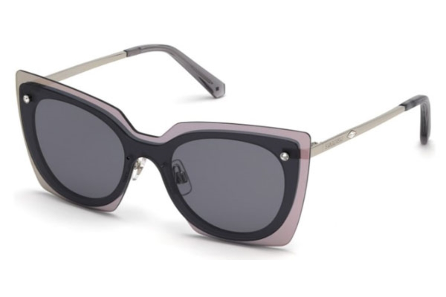 Swarovski SK0201 Sunglasses in 16A - Shiny Palladium / Smoke