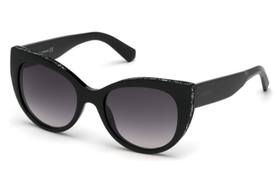 Swarovski SK0202 Sunglasses in 01B - Shiny Black / Gradient Smoke