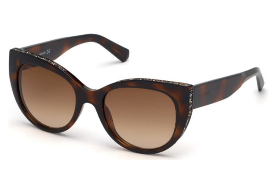 Swarovski SK0202 Sunglasses in 52F - Dark Havana / Gradient Brown