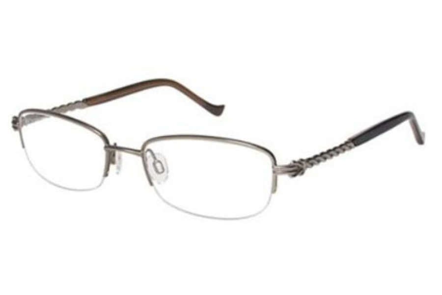 Tura R504 Eyeglasses in Brown w Antique gold
