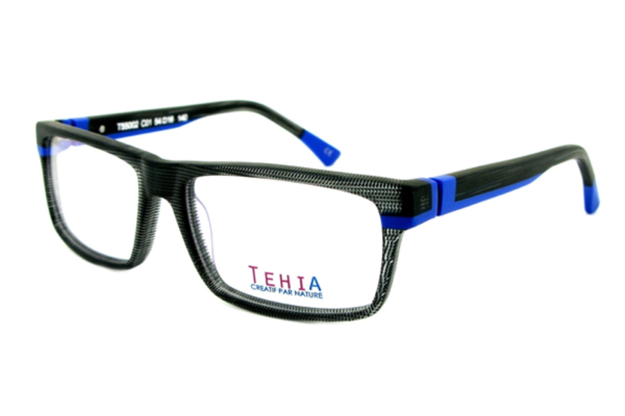 Tehia T55002 Eyeglasses in C01 Checkerboard Black Matt Blue