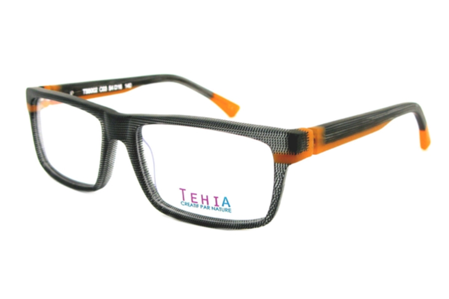 Tehia T55002 Eyeglasses in C03 Checkerboard Black Matt Orange