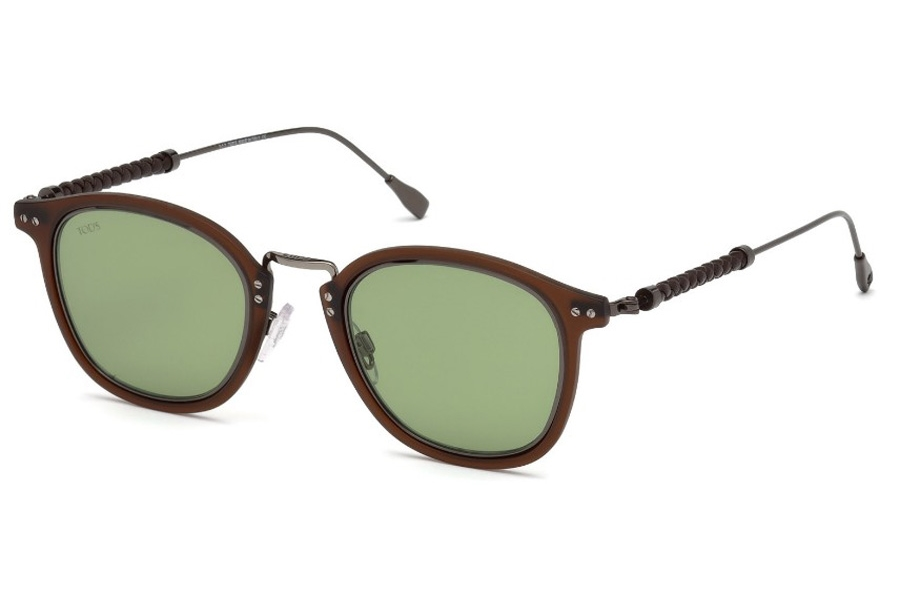 Tod's TO 0218 Sunglasses in 46N - Shiny Dark Ruthenium, Matte Brown Rims, Brown Leather/ Green