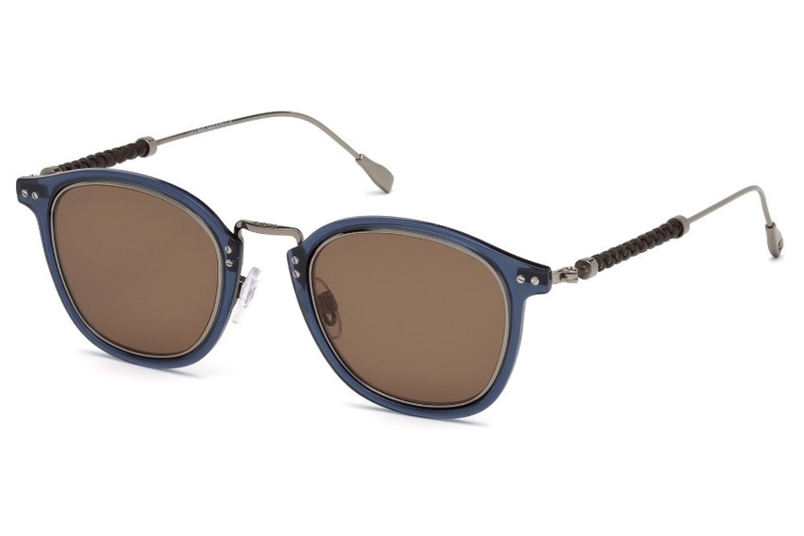 Tod's TO 0218 Sunglasses in 90E - Shiny Dark Ruthenium, Shiny Transp. Blue Rims, Brown Leather/ Brown