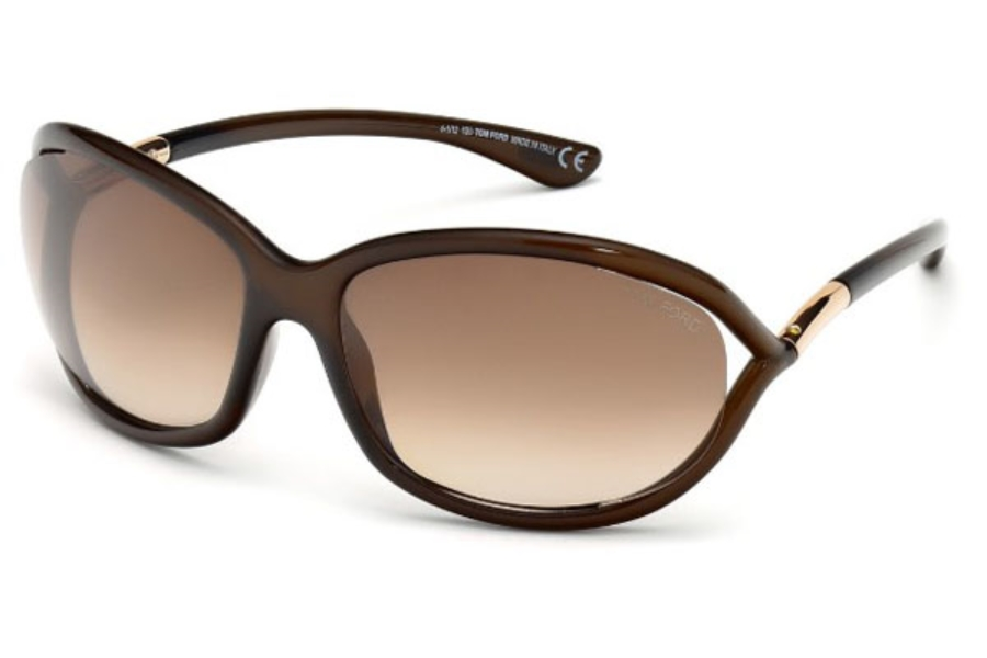Tom Ford FT0008 Jennifer Sunglasses in 692 - Shiny Dark Brown / Gradient Brown