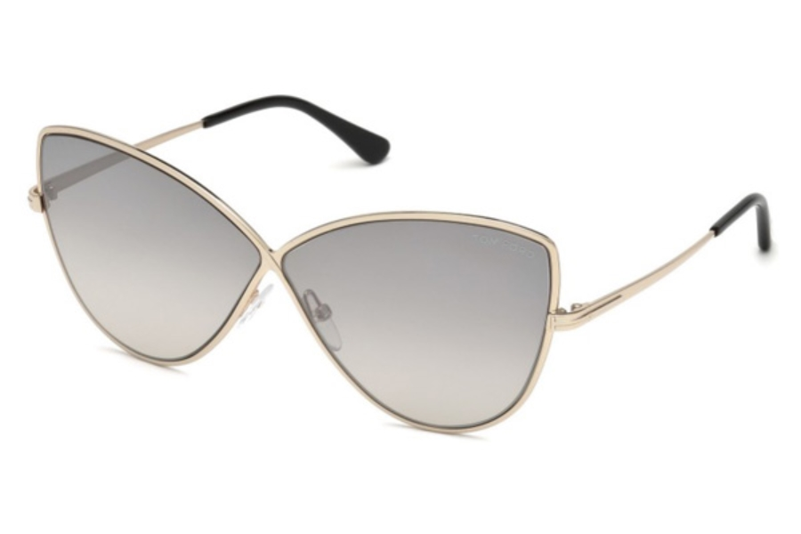 Tom Ford FT0569 Elise-02 Sunglasses in 28C - Shiny Rose Gold / Smoke Mirror