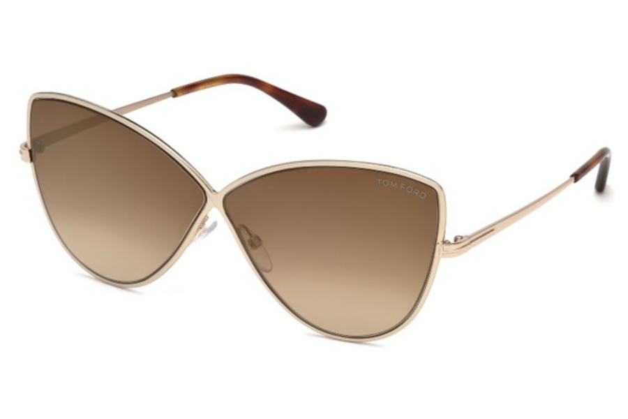 Tom Ford FT0569 Elise-02 Sunglasses in 28G - Shiny Rose Gold / Brown Mirror