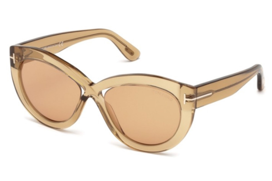 Tom Ford FT0577 Diane-02 Sunglasses in 45E - Shiny Light Brown / Brown