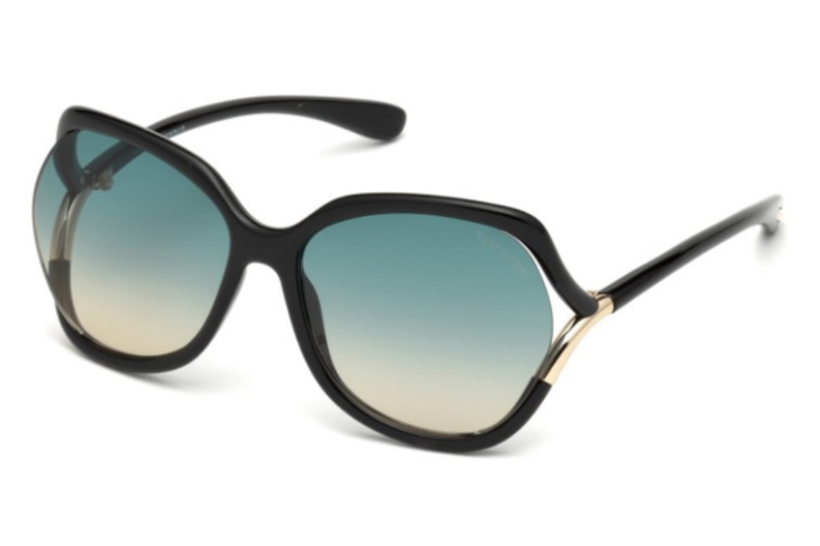 Tom Ford FT0578 Anouk-02 Sunglasses in 01W - Shiny Black / Gradient Blue