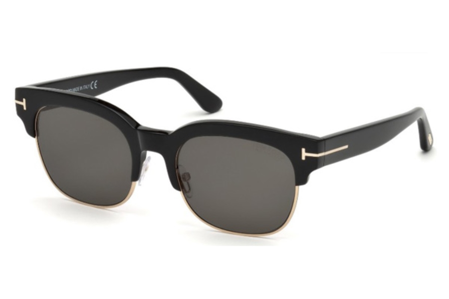 Tom Ford FT0597 Harry-02 Sunglasses in 01D - Shiny Black / Smoke Polarized