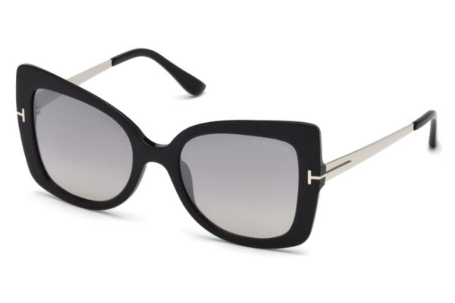 Tom Ford FT0609 Gianna-02 Sunglasses in 01C - Shiny Black / Smoke Mirror