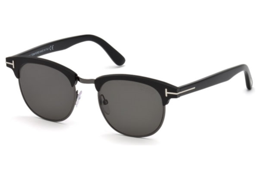 Tom Ford FT0623 Laurent-02 Sunglasses in 02D - Matte Black / Smoke Polarized