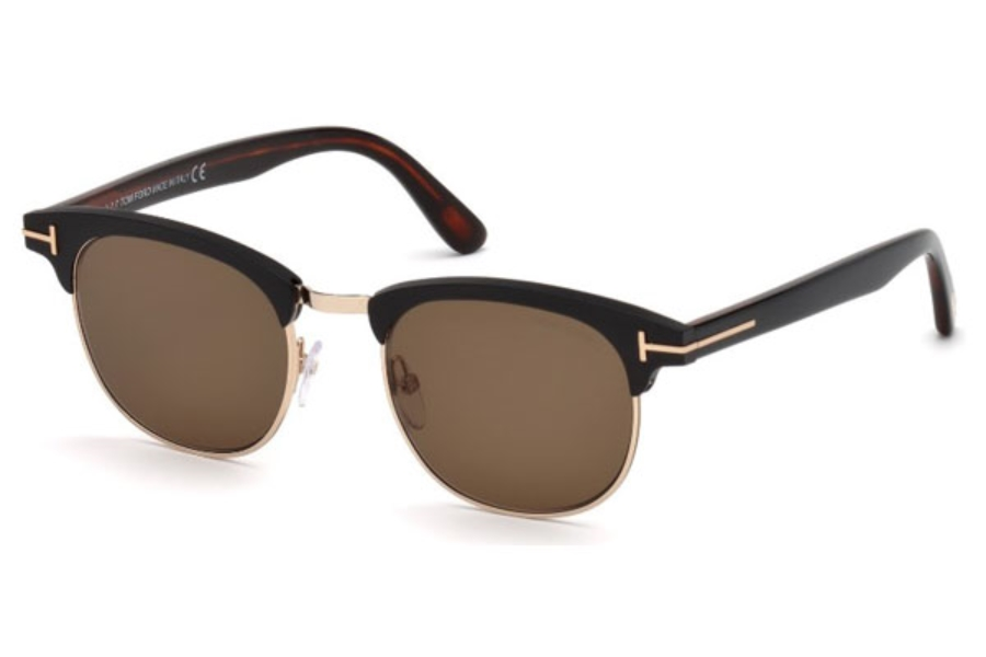 Tom Ford FT0623 Laurent-02 Sunglasses in 02J - Matte Black / Roviex