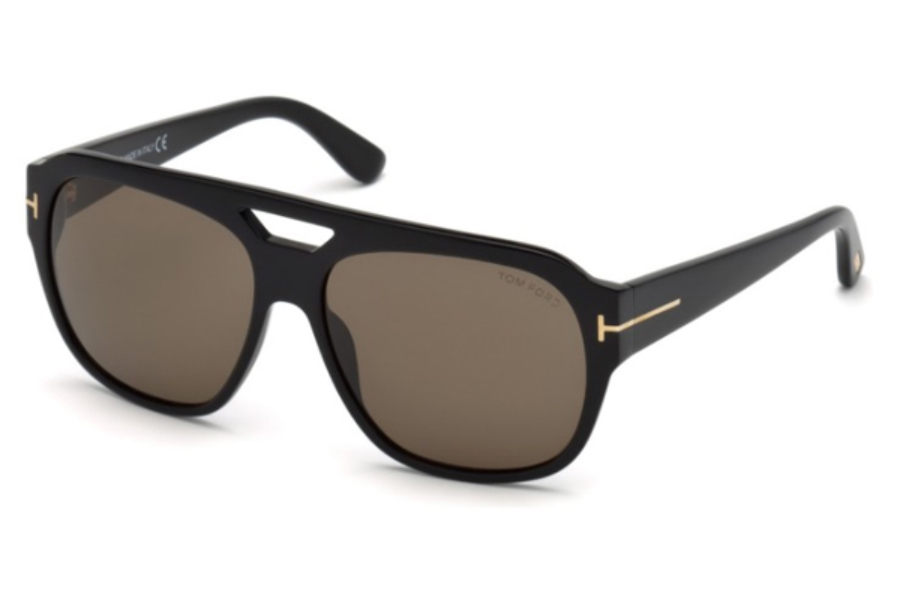Tom Ford FT0630 Bachardy-02 Sunglasses in 01J - Shiny Black / Roviex