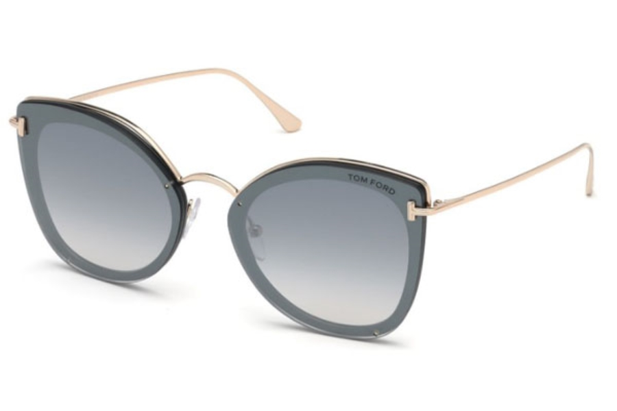 Tom Ford FT0657 Charlotte Sunglasses in 01C - Shiny Black / Smoke Mirror