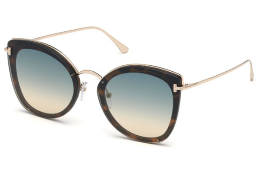 Tom Ford FT0657 Charlotte Sunglasses in 53P - Blonde Havana / Gradient Green