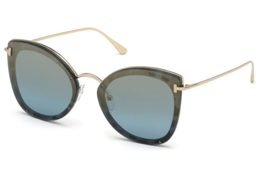 Tom Ford FT0657 Charlotte Sunglasses in 55X - Coloured Havana / Blu Mirror