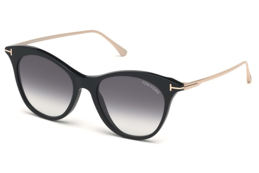 Tom Ford FT0662 Micaela Sunglasses in 01B - Shiny Black, Shiny Palladium/ Gradient Smoke W. Flash Silver Lenses