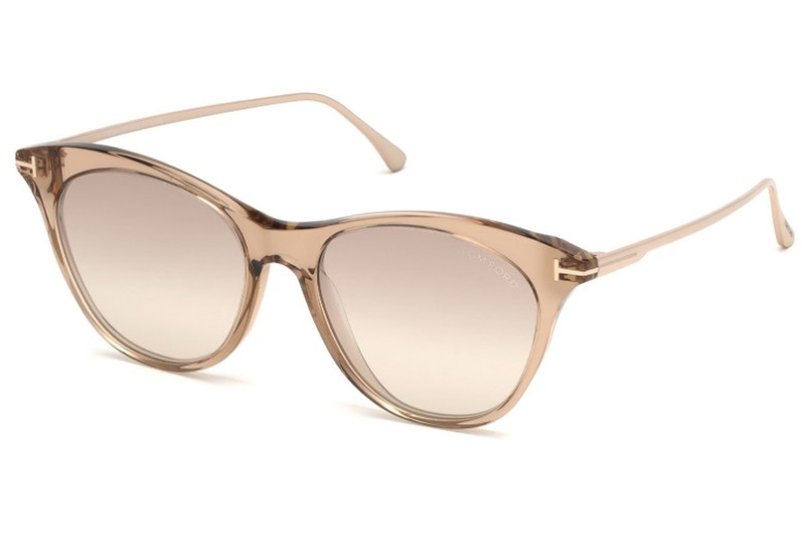 Tom Ford FT0662 Micaela Sunglasses in 45G - Shiny Pink Champagne, Shiny Rose Gold/ Grad. Brown Silver Flash Lenses