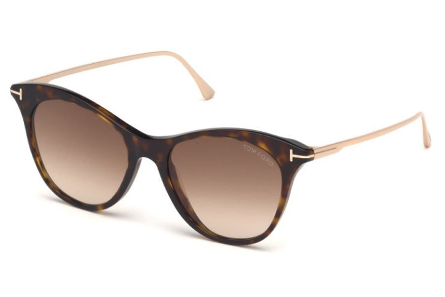Tom Ford FT0662 Micaela Sunglasses in 52F - Shiny Dark Havana, Shiny Rose Gold/ Gradient Brown Lenses