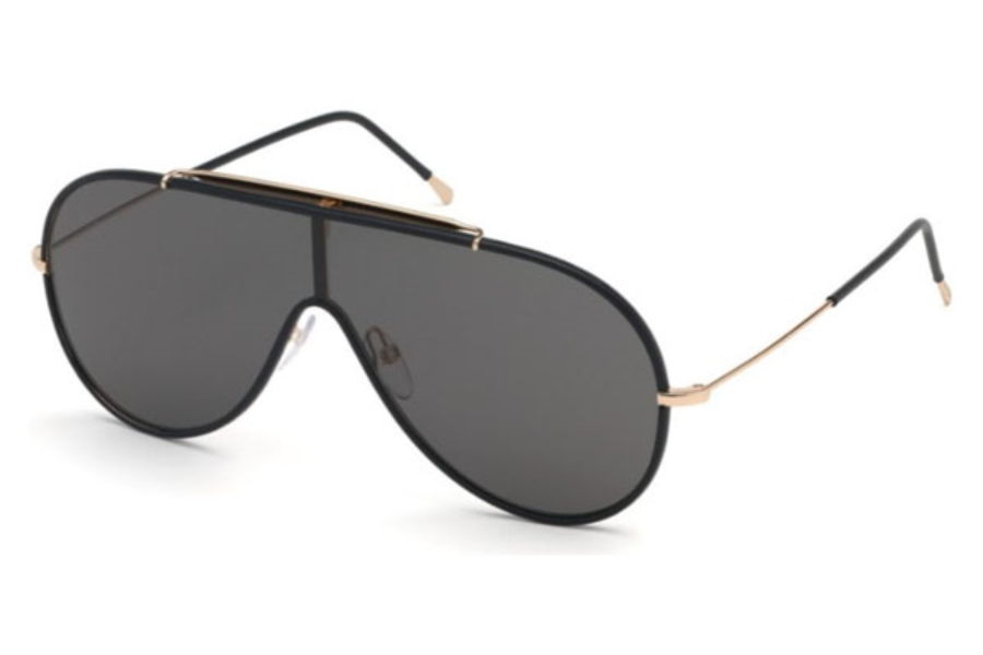 Tom Ford FT0671 Mack Sunglasses in 01A - Shiny Black / Smoke