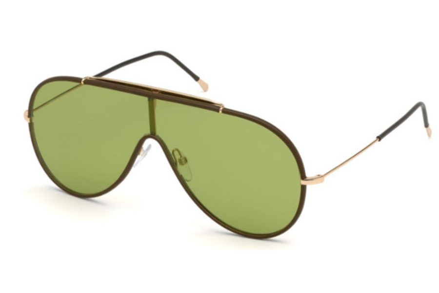 Tom Ford FT0671 Mack Sunglasses in 48N - Shiny Dark Brown / Green