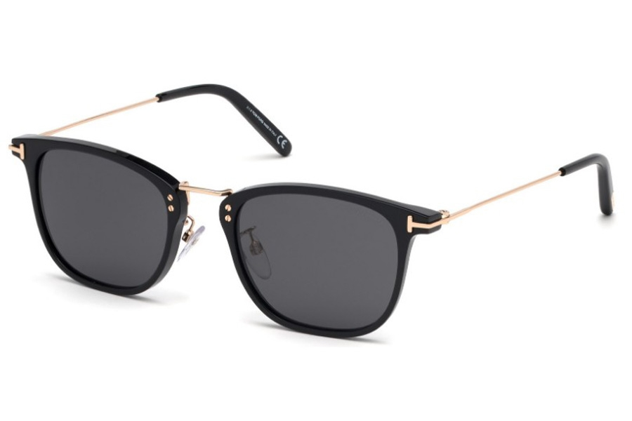 Tom Ford FT0672 Beau Sunglasses in 01A - Shiny Black, Shiny Rose Gold / Smoke Lenses