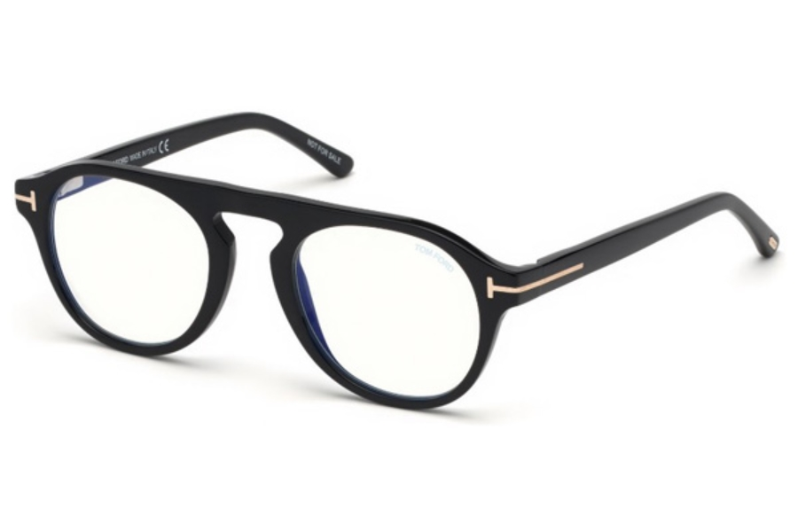 Tom Ford FT5533-B Eyeglasses in 01V - Shiny Black / Blue