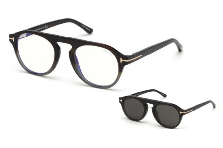 Tom Ford FT5533-B Eyeglasses in 55A - Coloured Havana / Smoke