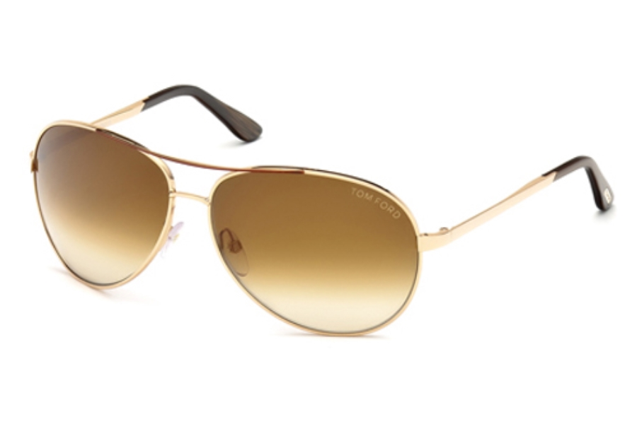 Tom Ford FT0035 Charles Sunglasses in 772 Shiny Rose Gold w/Brown Gradient Lenses (Discontinued)