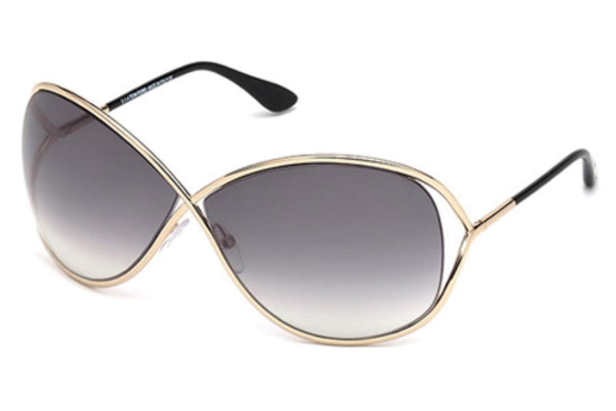 Tom Ford FT0130 Miranda Sunglasses in 28B Shiny Rose Gold / Gradient Smoke