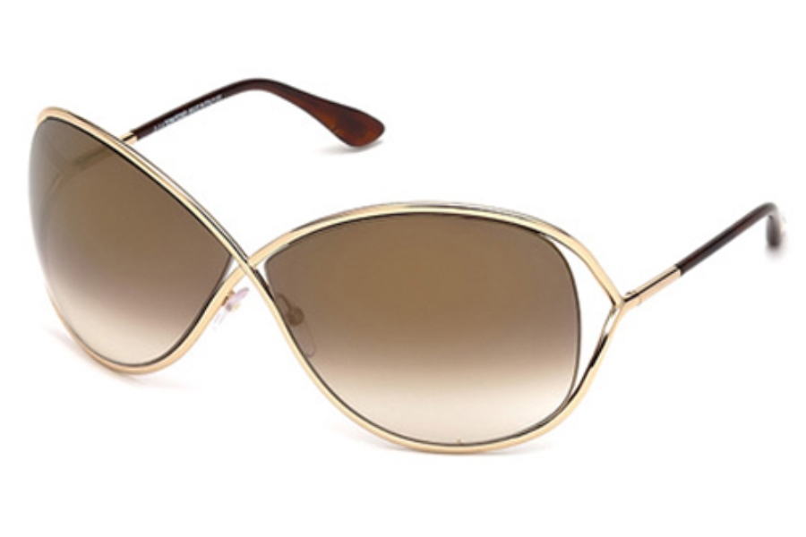 Tom Ford FT0130 Miranda Sunglasses in 28G Shiny Rose Gold / Brown Mirror