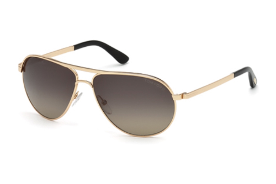 6f5c72c19b124 Tom Ford FT0144 Marko Sunglasses in 28D Shiny Rose Gold   Smoke Polarized  ...