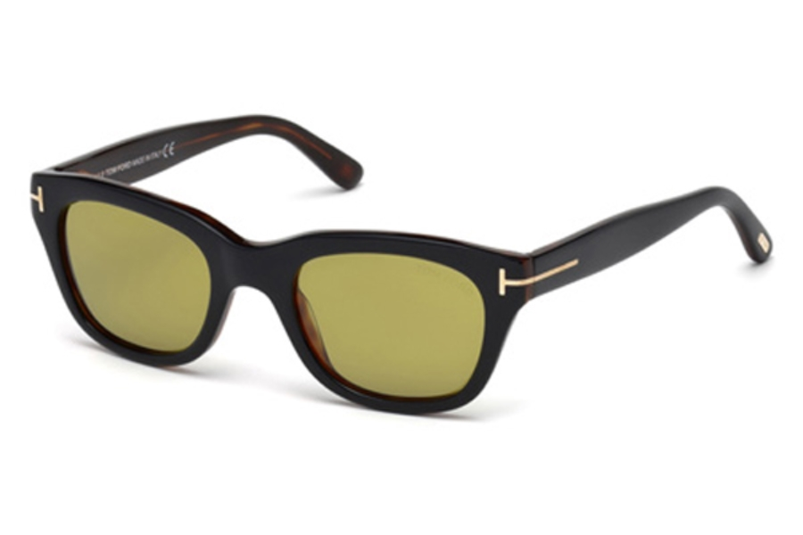 Tom Ford FT0237 Snowdon Sunglasses in 05N - Black/Other / Green (50 Eyesize Only)