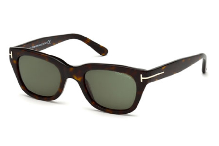 Tom Ford FT0237 Snowdon Sunglasses in 52N Dark Havana / Green Gradient Lens