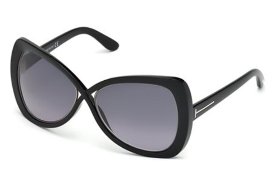 Tom Ford FT0277 Jade Sunglasses in 01B Shiny Black / Gradient Smoke