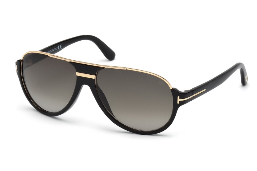 Tom Ford FT0334 Dimitry Sunglasses in 01P - Shiny Black / Gradient Green