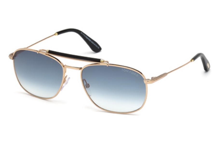 Tom Ford FT0339 Sunglasses in 28W Shiny Rose Gold / Gradient Blue
