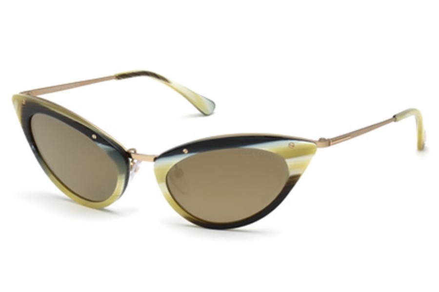 Tom Ford FT0349 Grace Sunglasses in 64J Coloured Horn / Roviex