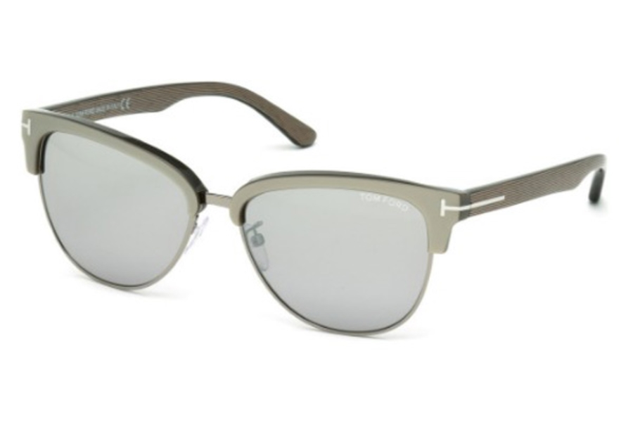 Tom Ford FT0368 Fany Sunglasses in 57G Shiny Beige/Brown Mirror