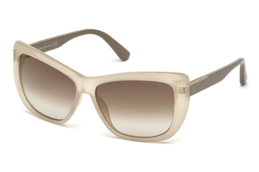 Tom Ford FT0434 Lindsay Sunglasses in 57G - Shiny Beige / Brown Mirror