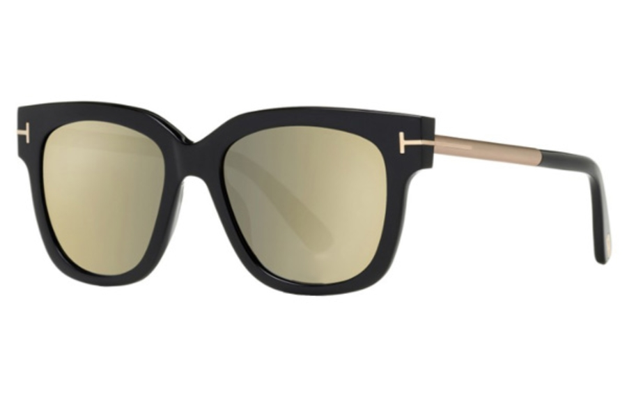 Tom Ford FT0436 Tracy Sunglasses in 01C - Shiny Black / Smoke Mirror