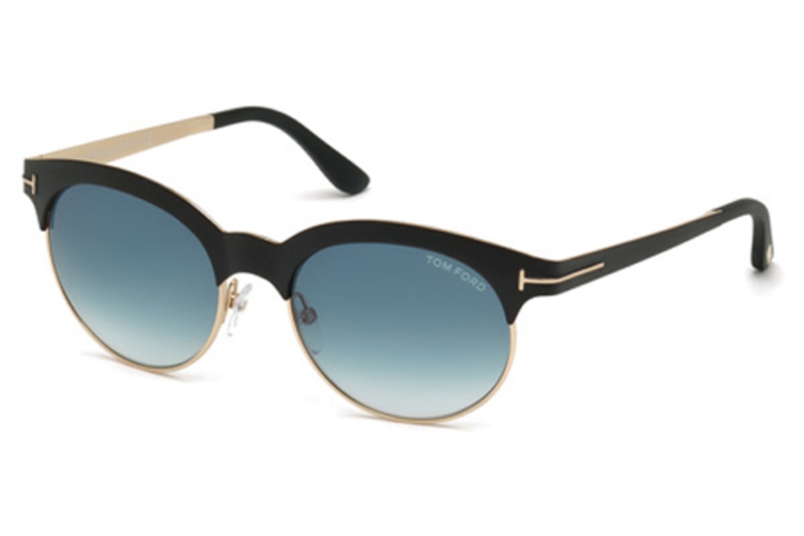Tom Ford FT0438 Angela Sunglasses in 05P - Black/Other / Gradient Green