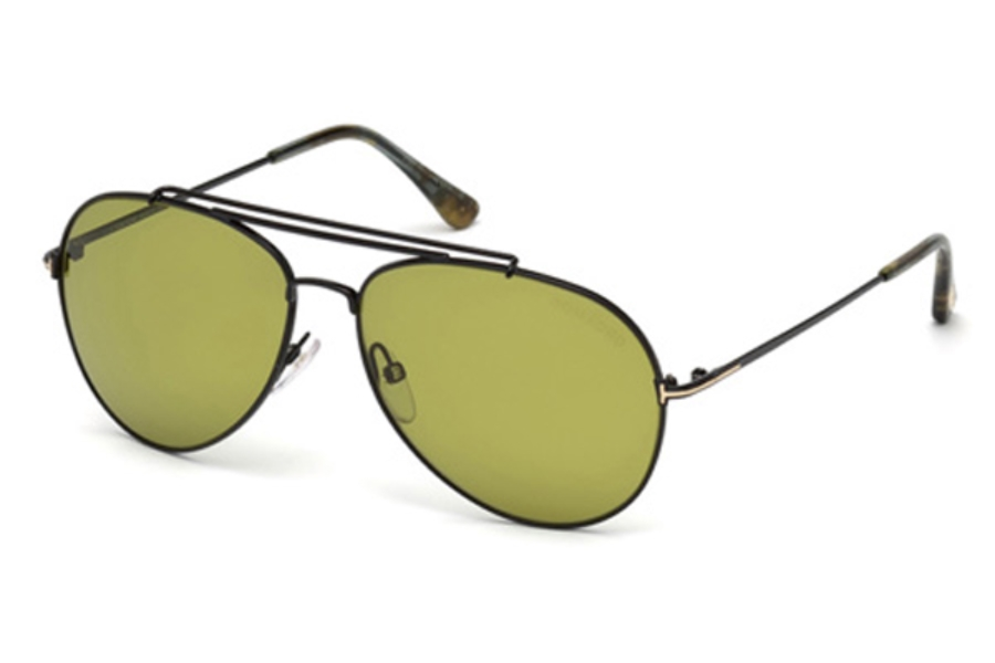 Tom Ford FT0497 Indiana Sunglasses in 01N - Shiny Black / Green (Size :- 58)